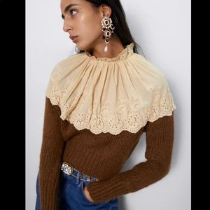 Zara NEW contrasting embroidery sweater
